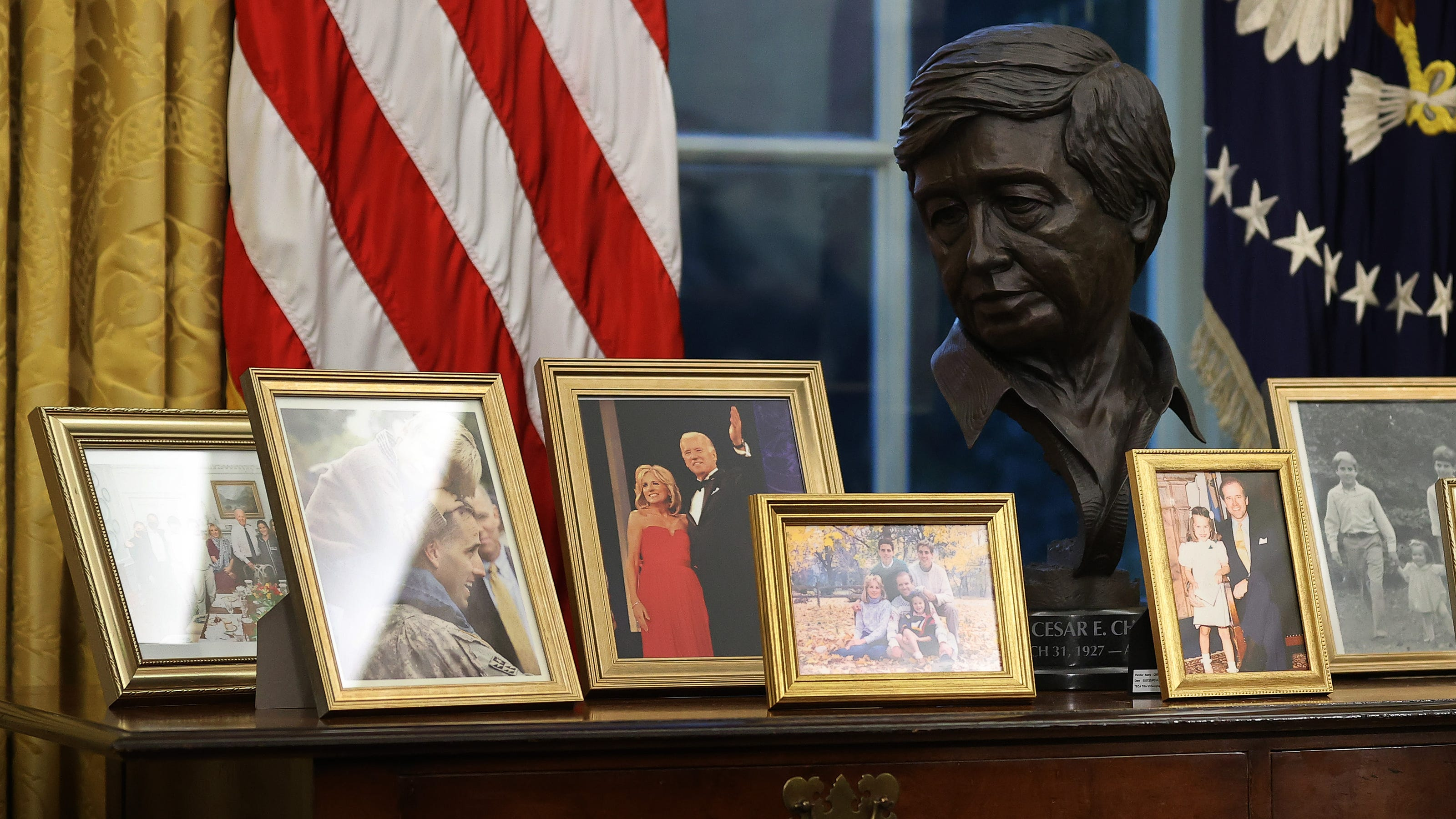 President Joe Biden's Oval Office: A bust of Cesar Chavez, painting of Roosevelt and more