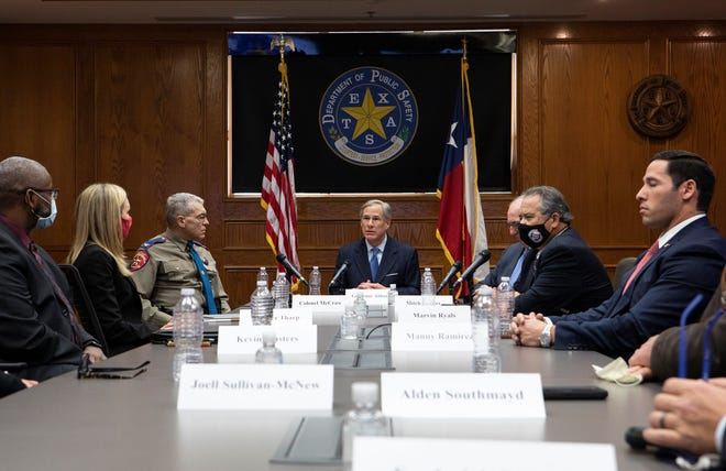 Texas Gov. Greg Abbott discussed plans for bail reform at this Jan. 21, 2021 news conference. [AMERICAN-STATESMAN/FILE]