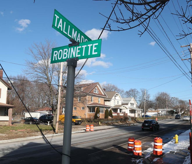 Robinette Court is pictured Thursday off Tallmadge Avenue in Akron's North Hill neighborhood. The name Robinette is trending on the internet after Americans learned it's President Joe Biden's middle name.