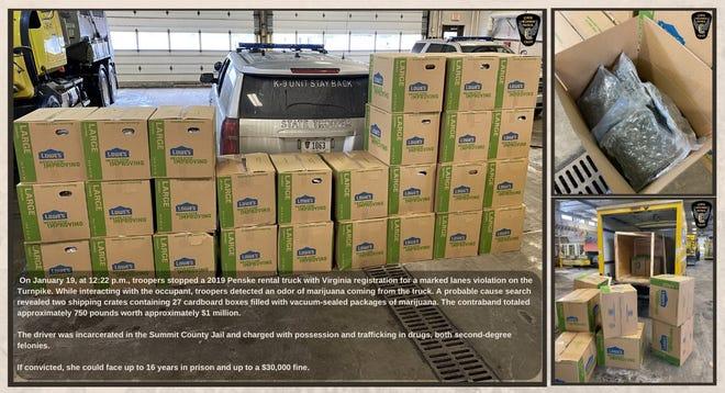 Ohio state highway patrol troopers seized 750 pounds of marijuana on Monday.