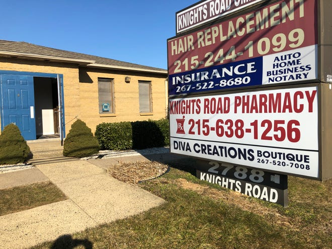 The door was ajar and no one appeared to be working inside the Knights Road Pharmacy, which is listed as an official vaccine provider from the Pennsylvania Department of Health.