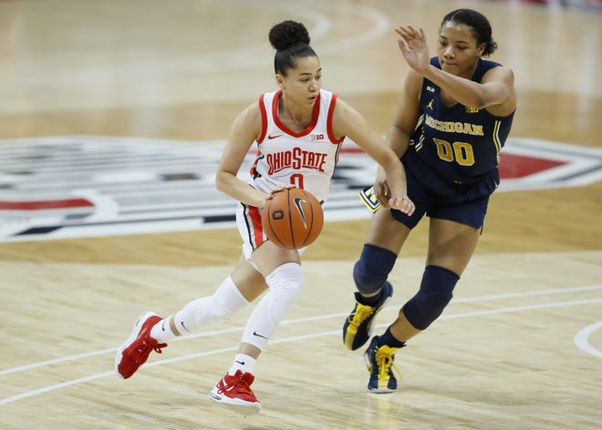 Madison Greene, seen here in a game against Michigan on Jan. 21, is Ohio State's third leading scorer this season.