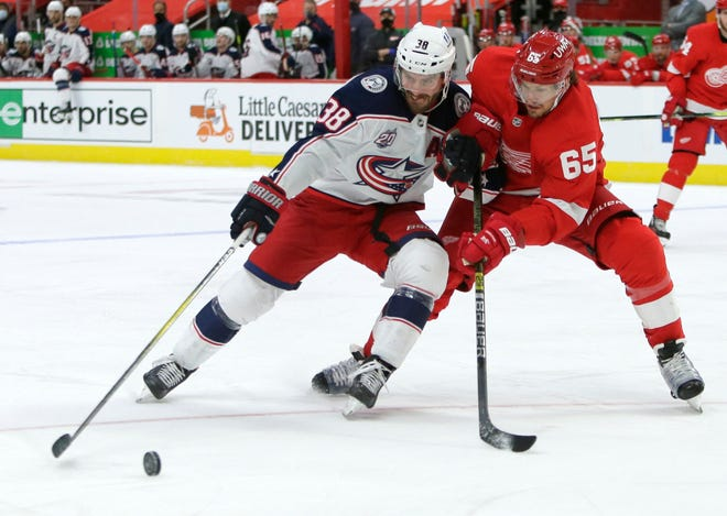 Blue Jackets forward Boone Jenner (38) is moving up the franchise charts in categories such as points, but he still defines himself by his energy and physical play.