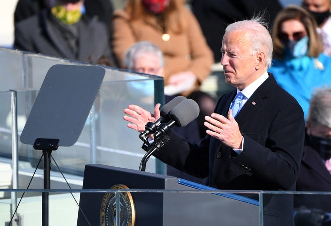Jan 20, 2021; Washington, DC, USA; President Joe Biden delivers an address during the 2021 Presidential Inauguration of President Joe Biden and Vice President Kamala Harris at the U.S. Capitol. Mandatory Credit: Robert Deutsch-USA TODAY ORG XMIT: USATODAY-446446 ORIG FILE ID:  20210120_ajw_usa_170.JPG