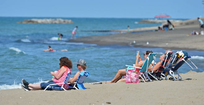 Beachgoers fill Beach 8 at Presque Isle State Park in Millcreek Township.