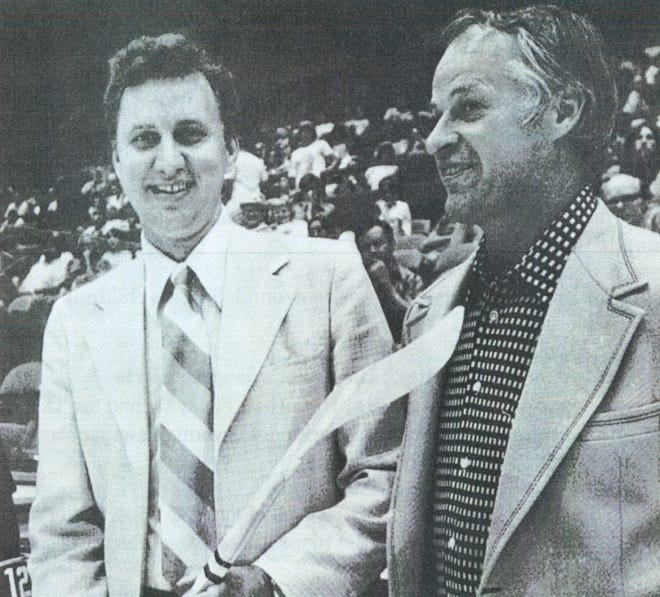 Tuscan Mavericks owner Merle Miller, left, entertains hockey legend Gordie Howe during the 1975-76 season. The Mavericks lasted just one season. Miller's career in sports began at The Hawk Eye, where he was a sports editor. He later would coach the Burlington Bees. Miller died Dec. 13 at the age of 86.