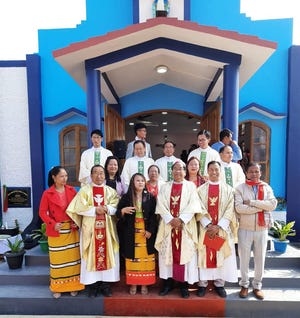 Members of St Paul's Parish join the Most Rev. Dominic Lumon, archbishop of Imphal, at the blessing of the newly constructed Mary Immaculate Church in India on Jan. 15, 2021.