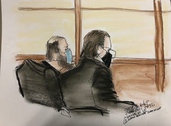 Bradley Weeks, left, faced a federal  magistrate in Jacksonville for his first hearing on two misdemeanor charges involving taking part in the Jan. 6 riot at the U.S. Capitol.