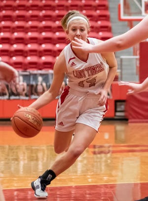 Glen Rose's Hannah Cantwell, seen here in action against Lampasas earlier in the season, scored 10 points in the win over Gatesville.