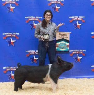 Sierra Heiner won Grand Champion Breeding Gilt honors at the Somervell County Youth Fair held Jan. 14-16 at the Somervell County Expo Center.