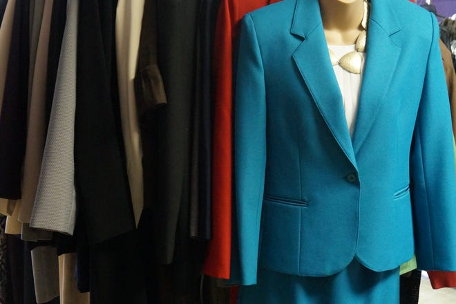 """This professional ladies suit is an example of the """"gently used"""" clothes available free of charge at Jana's Closet."""
