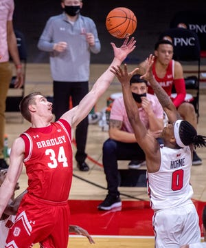 Bradley's Connor Linke, left, stretches for a rebound against ISU's D.J. Horne in the second half Wednesday, Jan. 20, 2021 at Redbird Arena in Normal.