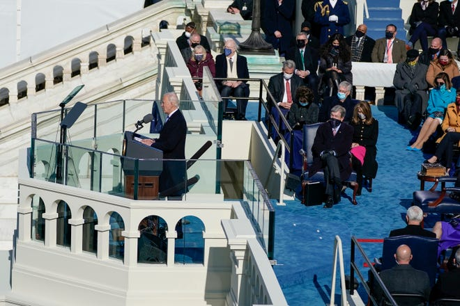 President Joe Biden delivers his inaugural address on the West Front of the U.S. Capitol on Wednesday.