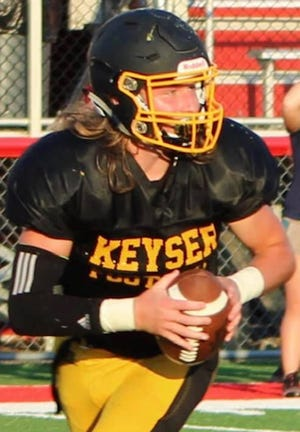 Keyser's Gavin Root is shown directing the Keyser offense.Root has committed to Frostburg State University to continue his football career.