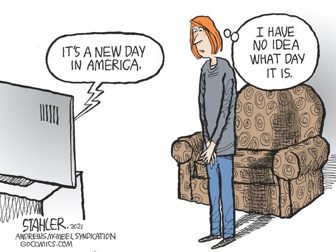 Jeff Stahler cartoon on a new day in America