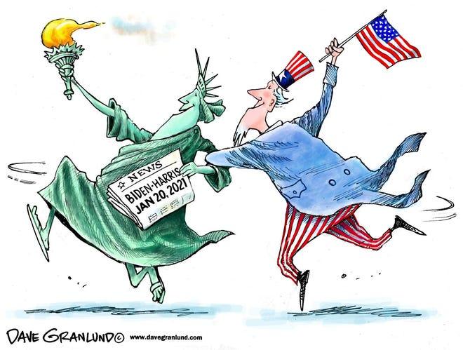Dave Granlund cartoon on America rejoicing in Biden-Harris administration taking office