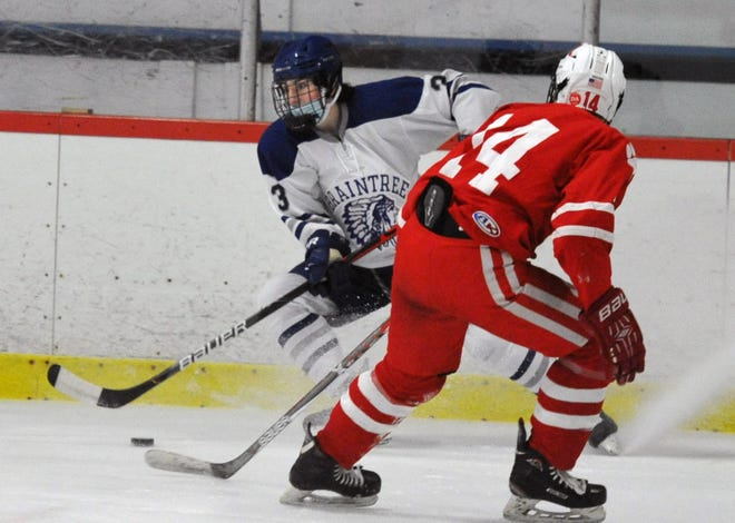 Braintree's Danny Keegan, left, skates past Milton's Aidan Long during boys ice hockey at the Zapustas Ice Arena in Randolph, Wednesday, Jan. 20, 2021.