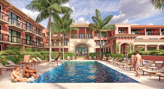 A Palm House rendering presented in December to the Architectural Commission shows the pool area in a view looking north toward Royal Palm Way.