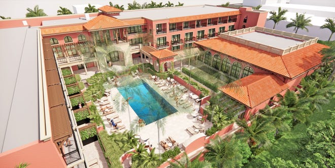 An aerial rendering shows the courtyard design of the Palm House hotel project at 160  Royal Palm Way in Palm Beach.