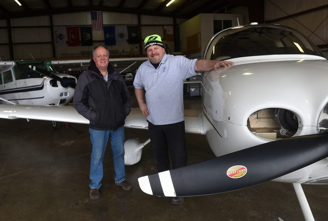 T-Aviation LLC has established an aircraft maintenance facility at Skyhaven Airport. Business Manager Mark Pride, left, and owner Thomas Morgera are excited about the possibilities of growth and working with the community to help make the Tri-Cities area more attractive to businesses.