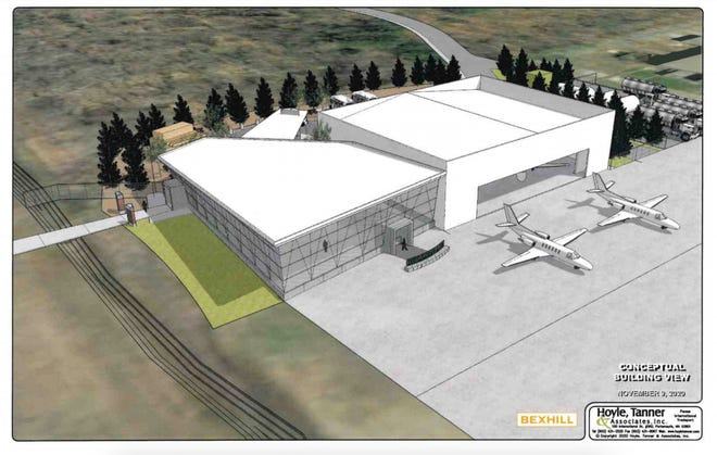 This is a conceptual drawing of the new fixed base operator (FBO) facility that Million Air Aviation out of Houston, Texas, wants to build at the Portsmouth International Airport at Pease.
