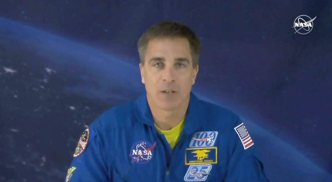 Astronaut Chris Cassidy of York, Maine speaks during an interview from cosmonaut headquarters in Star City, Russia, on Thursday, March 19, 2020. On Thursday he was closer to home, speaking virtually to the Portsmouth Rotary Club.