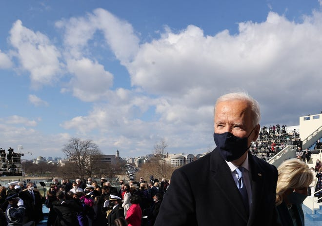 President Joe Biden and wife, first lady Jill Biden, depart the 59th Presidential Inauguration at the U.S. Capitol in Washington, Wednesday, [Jonathan Ernst/Pool Photo via AP]