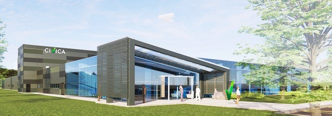 A rendering of Civica Inc.'s new facility planned for Normandy Drive. The 120,000 square-foot facility will be adjacent to the current AMPAC facility