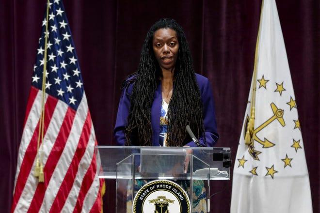 State Health Director Dr. Nicole Alexander-Scott addresses the media at  Veterans Memorial Auditorium on Thursday.