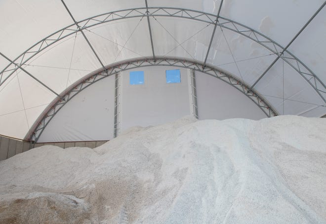 A salt shed in Suffield Township, Ohio can hold 1,000 tons of salt (Lisa Scalfaro / The Record-Courier / USA TODAY Network)