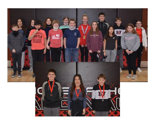 (Top) Fifteen students in grades 5 through 8 particpated in the RVMSSpelling Bee on Jan. 19—pictured front, from left: Dylan Curry, Nathaniel Easterling, Matthew Kaden, Tyler Robinson, Addison Thomes, Malia Hanks, and Kimberlyn Miketey. Back: Ming Lin, Blaine Jacobson, Adonis Erler, Madilynn Luckhardt, Margaret Joyce, Cayden Johnson-Mariner, Jace Berg, and Nevaeh Tucker. The top three finishers in the RVMSSpelling Bee were, from left: Cayden Johnson-Mariner, 3rd place; Ming Lin, 1st place; and Jace Berg, 2nd place.