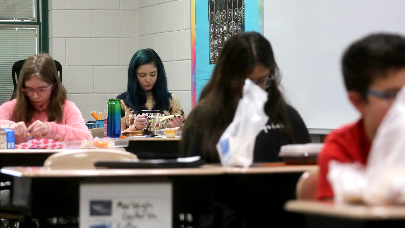 Students have lunch in their classrooms at Kings Mountain Intermediate School on Thursday.