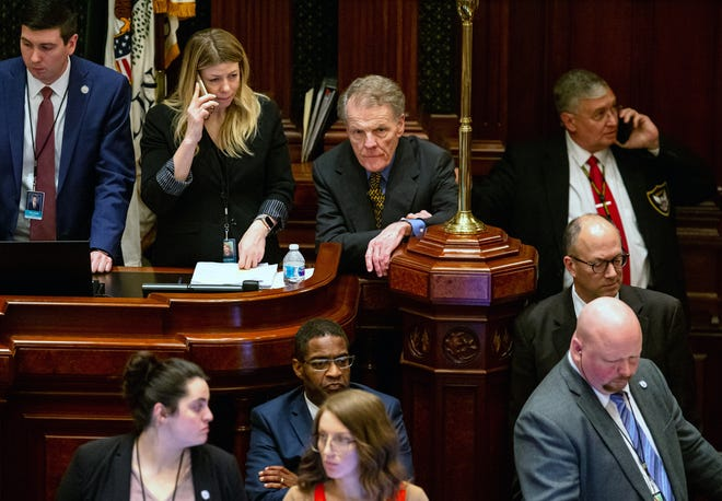 Then-Illinois Speaker of the House Michael Madigan, D-Chicago, listens to debate on the fiscal year 2020 budget on the floor of the Illinois House late into the evening on the scheduled last day of the spring session at the state Capitol on May 31, 2019. [Justin L. Fowler/The State Journal-Register]