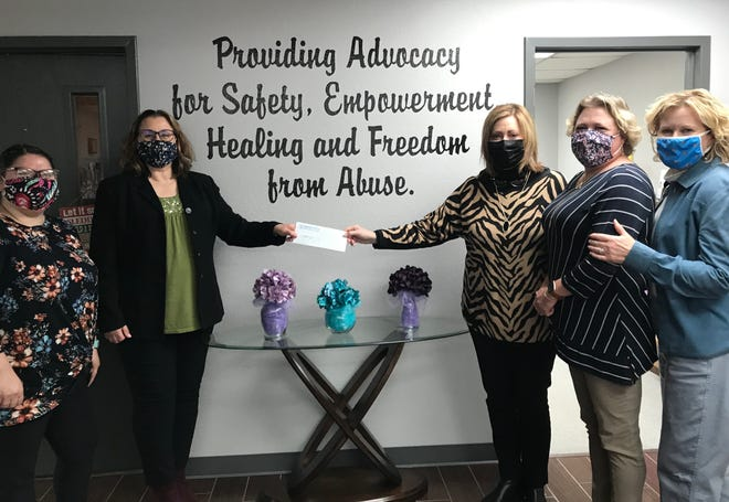 Pictured, from left, are Rachael Sain, assistant executive director of Project: SAFE; Project: SAFE Executive Director Renee Clemmons; Avedis Foundation President and CEO Dr. Kathy Laster; Tracy Meeuwsen, Avedis program director; and Audrey Seeliger, Avedis program officer.