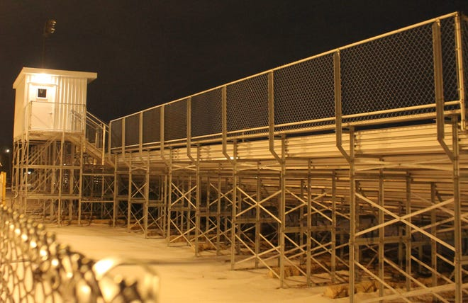 The completed visitors bleachers at KHS Stadium took longer than anticipated due to pandemic issues.