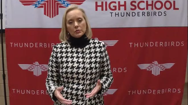 Leigh Anne Neal, an assistant superintendent in Shawnee Mission USD 512, was the first of four candidates interviewing for the Shawnee Heights USD 450 job and spoke to the district community in a brief livestreamed message Wednesday afternoon.