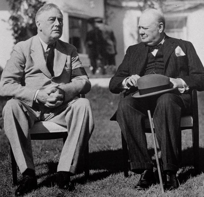 In 1943, President Franklin D. Roosevelt and British Prime Minister Winston Churchill concluded a wartime conference in Casablanca, Morocco.