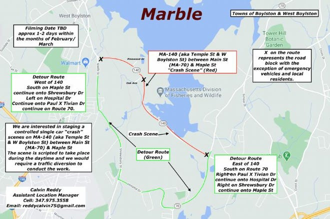 Site map provided to Boylston and West Boylston officials for 'Marble' shooting, the name being used for the 'Dexter' series.