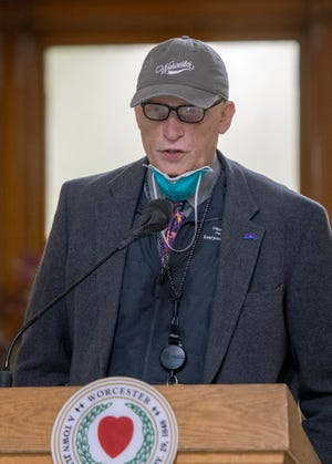 Dr. Michael P. Hirsh, the city's medical director, speaks during the weekly Covid-19 press conference at City Hall on January 21.