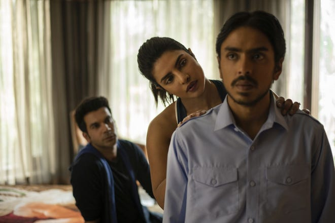 "From left, Rajkummar Rao,  Priyanka Chopra and Adarsh Gourav star in ""The White Tiger."""