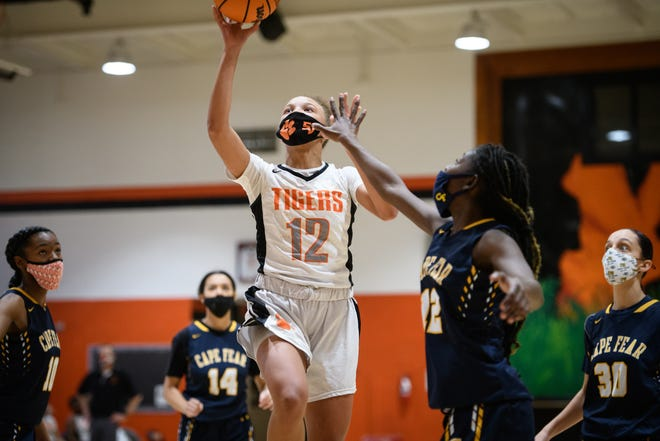 South View freshman DeNaira Williams (12) had 14 points and 12 rebounds as one of three Tigers to finish with a double-double against Cape Fear on Wednesday.