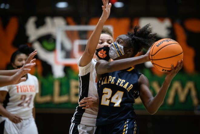 Cape Fear's Jayda Angel (24) is averaging 22 points, 8.3 rebounds, 5.3 steals and 2.3 assists in her freshman season for the Colts.