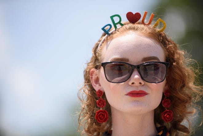 Alaina Price attends Faytteville Pride Festival on June 29, 2019. Hundreds of people watched performances and visited vendors in support of Pride Month.