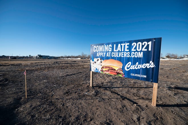 A sign sits in a field on Pueblo's south side announcing the arrival of Culver's in late 2021.