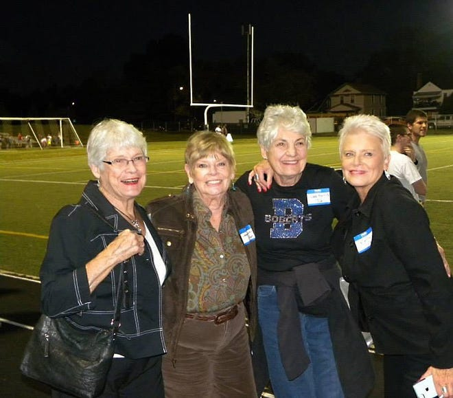 The Grandview Heights/Marble Cliff Historical Society was saddened to learn that Jane Harris, a society trustee and board secretary and a 1956 Grandview Heights High School graduate, had died Jan. 6 at age 82. She is shown (third from left) in a 2014 homecoming game photo with GHHS graduates Jerri (Williams) Lawrence, class of 1956; Jean (McQuilkin) Carfagna, class of 1957; and Kathy (McQuilkin) Miller (right), class of 1965.