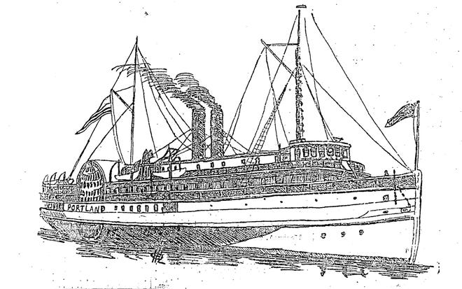 """The loss of the steamer Portland (shown here in a newspaper sketch from 1898) took the lives of nearly 200 people during Thanksgiving weekend of 1898. It also inspired the poem, """"Loss of the Steamer Portland,"""" written by Captain Frederick R. Eldredge and George Eldredge, both of Chatham, in early 1899."""