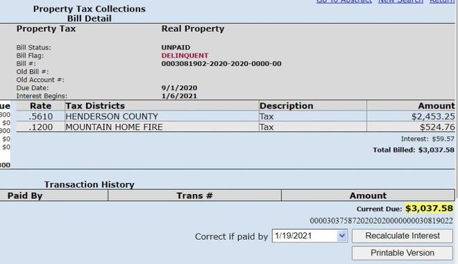 As of Jan. 21, 2021, U.S. Rep. Madison Cawthorn, R-Hendersonville, owed $3,037 in unpaid taxes on his Henderson County home.