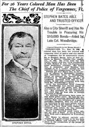 An article about Sheriff Stephen Bates printed in the Boston Herald in December 1905 includes one of the few pictures a research group has been able to find of the state's first known Black police leader.