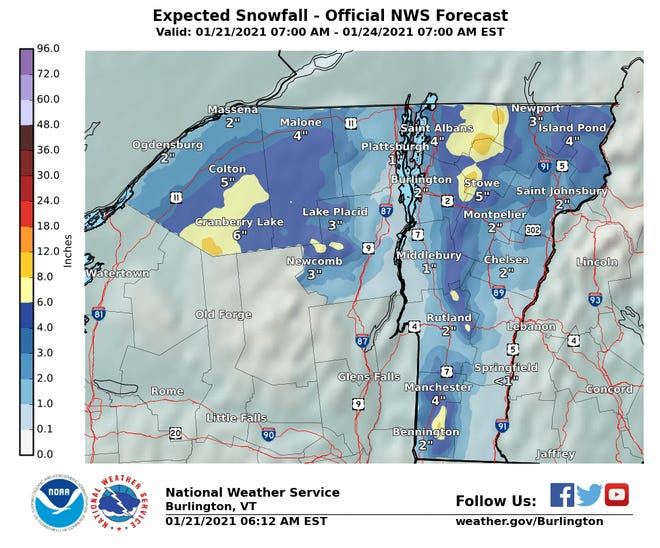 Expected snow totals for Vermont from Jan. 21 to Jan. 24, 2021.