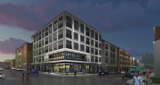 An artist's rendering of the planned $80 million mixed-use development at Liberty and Elm streets in Over-the-Rhine known as Freeport Row